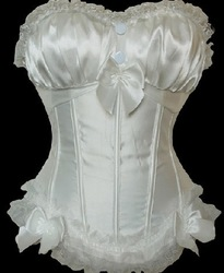 White boned lace up satin wedding corset bustier factory supplier S-2XL(China (Mainland))