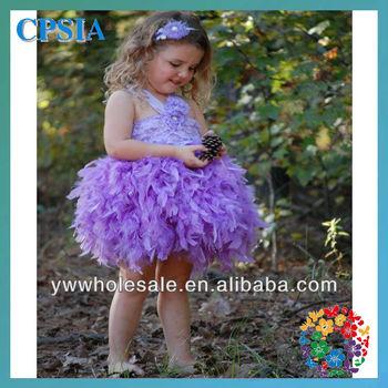 Lavender lace feather tutu dress for kids 3pcs/lot DHL free shipping