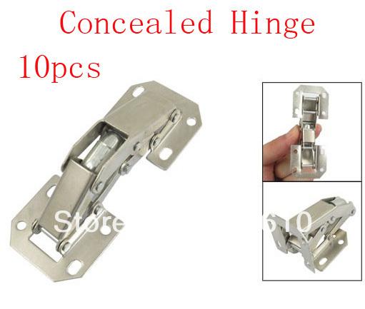 90 Degree Opening Surface Silver Tone Metal Concealed Hinge 10pcs(China (Mainland))
