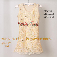 2013 Christmas Girl Dress Cream Carved Flower Kids Party Dresses for Children Clothing 4PCS/LOTGD21026-05^^FT