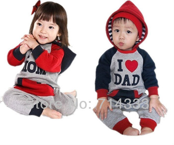 Great Deal New I Love MOM & DAD Baby Girls Boys Romper/One piece/Jumpsuit, baby clothing, baby outfits retail/free shipping