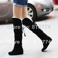 2014 winter snow boots knee-length flat fur cottone levator shoes