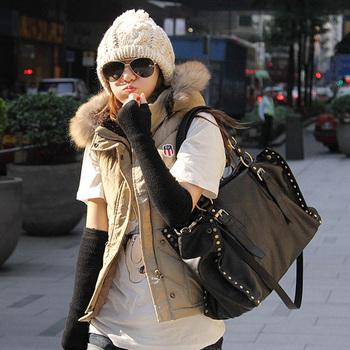Hot Sale 2012 women's handbag rivet bag vintage formal motorcycle handbag messenger bags big bag free shipping