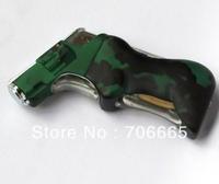 Fashion Novelty Pistol Gun Shaped Steel Chrome Butan Cigarette Lighter Led Light