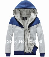 New mens hoodies and sweatshirts men warm jacket men jacket winter Blue M L XL XXL coat free shipping AMWT-093