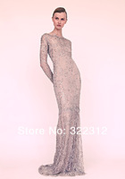 Elie Saab Couture Sheath Full Lace Handmade Beads Long Sleeves Celebrity Event Elegant Floor Length Evening Dress Prom Gown