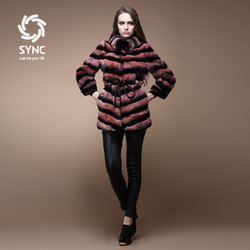 2013 rex rabbit goatswool slanting stripe long design fur coat button dual(China (Mainland))