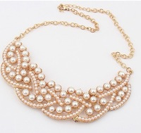 Min.order is $15 (mix order)Fashion Collar Necklace New Elegant Imitation Pearl Hollowed Golden Choker Bib Collar Necklace