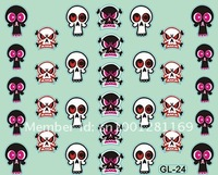 Free shipping Item No. GL-24,2012 new GL Skull shapes Nail Stickers for wholesale