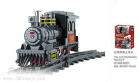 Building Block Set SLuBanM38-B0231 Century railway station/Stevenson locomotive  ,3D Block  Model,Educational