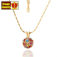 18KGP Jewelry 18K Gold Plated Necklace Nickel Free Golden Plating Platinum Rhinestone Austrian Crystal SWA Element N019