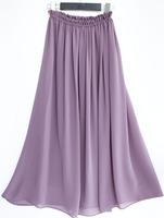 S2001  Custom made women's high quality soft chiffon long skirt bohemian pleated skirt big swee  with full chiffon linning