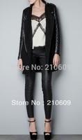 2014 women's clothing jacket western zipper cardigan medium&long pu leather long sleeve coat overcoat