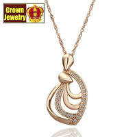 18KGP Jewelry 18K Gold Plated Necklace Nickel Free Golden Plating Platinum Rhinestone Austrian Crystal SWA Element N049
