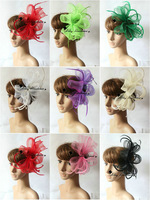 Handmade  Cocktail  Headpiece, hair clip feather fascinator for wedding party ball gift 6pcs/lot