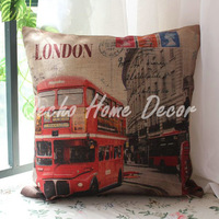 Free Shipping 45*45cm London Red Bus Street Scenery Pillow Case