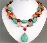 Exquisite turquoise coral jade necklace