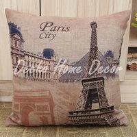 Free Shipping 45*45cm Paris Eiffel Tower Triumphal Arch Louvre Museum Pillow Case