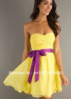 2014 simple sweetheart yellow and purple ribbon chiffon prom dress 5703 free shipping