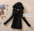 2012 winter New arrival women Brand coat, black PU leather sleeve ladies&#39; jacket ,women outerwear ,large size M L XL XXL XXXL