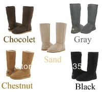 wholesale free shipping 5pairs/lot top qulity women&#39;s snow boots 5815 100% cowhide leather classical tall boots comes with box