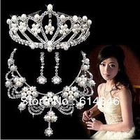 Elegant Zircon Rhinestone Pearl Flower Silver Wedding Pendants Necklaces Imperial Crown Drop Earring Fashion Bridal Jewelry Sets