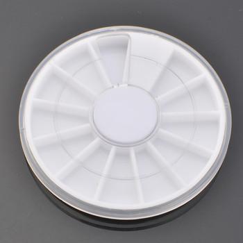 100 x White Plastic Empty Wheel Box Case For Nail Art Gems Rhinestones Storage Case + Free Shipping