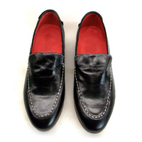 Men's fashion black genuine cowhide leather pointed toe slip-on casual dress flat oxfords loafer shoes 38-45 free shipping