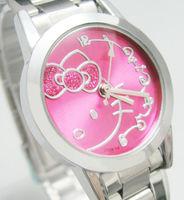 Wholsale Hello Kitty Watch Fashion Rose Cat Cute Kitty Steel Quartz Watch Kids cartoon wrist watches C134S Free Shipping