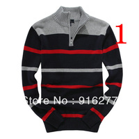 fashion leisure male stripe long sleeve sweater a variety of color sweater coat shirt jacket free shipping