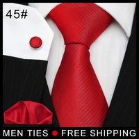 2014 Red Tie & Cufflinks & Hanky Neckties Men's ties cufflinks Neck Tie Set men's tie hanky NEW ARRIVE Free shipping