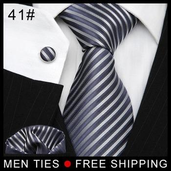 Men's Formal Suit Ties Business Casual Tie Necktie Gift Set Tie + Hanky + Cufflinks + Tie Clips CN POST Free shipping