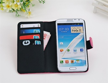Free Shipping 1 Pcs PU Stand Wallet Flip Leather Case Cover Skin For Samsung Galaxy Note 2 ii N7100 N7105 Mobile Phone
