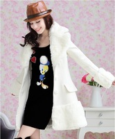 Free shipping The new winter clothing noble temperament white collars long coat cultivate one`s morality cashmere coat