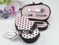 "Free shipping 100pcs/lot Nail Care --""Pink Polka Flip Flop"" Four Pedicure Set Manicure Set Wedding Gift"