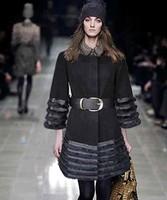 Women's wool Rabbit real fur long cashmere warm jacket coat parka trench