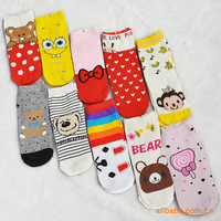 woman cute polyester  cotton boat socks lady breathable winter short socks