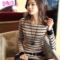 (Free shipping)  Autumn new arrival autumn women's stripe slim long-sleeve T-shirt female plus size Women basic shirt
