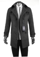 xysm Male winter thickening thermal male trench cashmere trench new arrival wool trench outerwear plus size