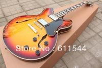 Sunburst Semi Hollow Classic ES335 Jazz Guitar Ebony Fingerboard High Quality Free Shipping
