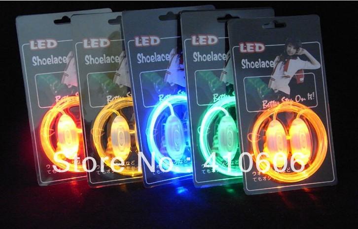 Free Shipping, 3000pcs/Lot New design fashion hot sale LED Shoelace,light up led shoelace ,high quality,as the best christmas!(China (Mainland))