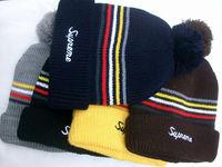 Supreme Loose Gauge Stripe Pom Beanie Fashion Knitted Cap Winter Cap Supreme Hip Hop Hat Hot Sale Wholesale Free Shipping