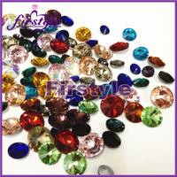 50%OFF! MIXED COLORS ! 12mm Crystal Rivoli beads,Rivoli Crystal Silver Shade stones free shipping