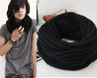 All-match solid color male muffler scarf handmade yarn coarse knitted scarf autumn and winter thermal scarf