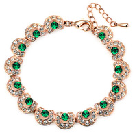 Accessories luxury green gem bracelet cubic zircon stone bracelet rose gold female 18k41