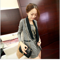 Women's all-match houndstooth suit collar patchwork slim vest