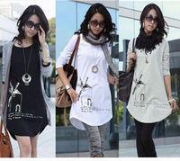 New Arrival  women's plus size print loose medium-long basic shirt windmill long-sleeve T-shirt