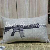 Free shipping 30*50cm Vintage Military Famous Gun M16 Linen Cushion Cover Pillow Case Decor