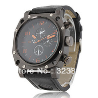 Gladiator - Men's Sport PC Quartz Wrist Watch with Black PU Leather Band