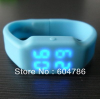 Free shipping  MOQ just 1pc  silicone watch Led USB
